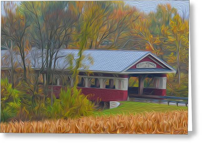 Covered Bridge Greeting Cards - Water Colored Covered Bridge Greeting Card by Brian Mollenkopf