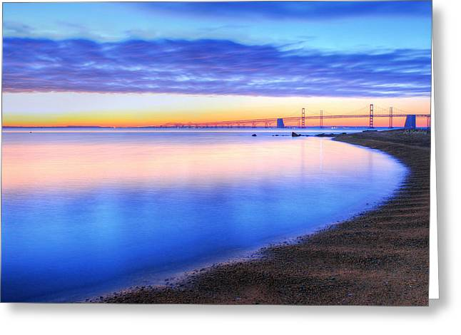 Chesapeake Bay Bridge Greeting Cards - Water Colors Greeting Card by JC Findley