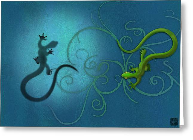 Greeting Cards - water colour print of twin geckos and swirls Duality Greeting Card by Sassan Filsoof