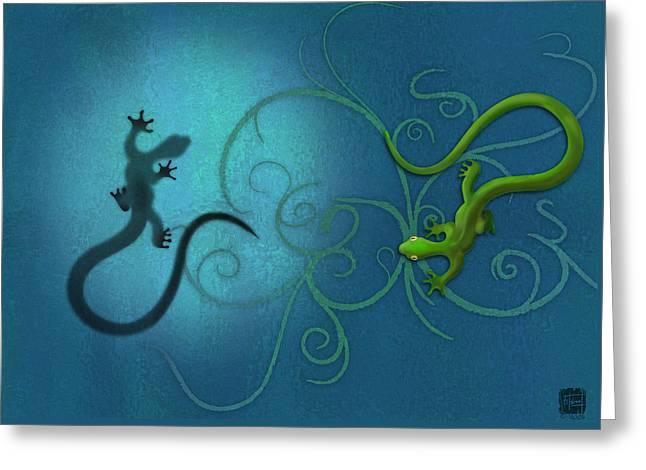 Blue Green Greeting Cards - water colour print of twin geckos and swirls Duality Greeting Card by Sassan Filsoof