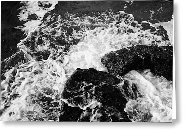 Ballycastle Greeting Cards - Water Crashing Over Rocks On Ballycastle Beach In Winter County Antrim Northern Ireland Greeting Card by Joe Fox