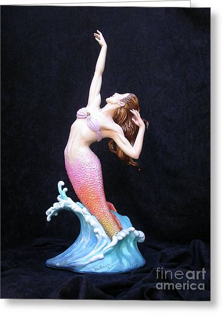 Mermaids Sculptures Greeting Cards - Water Dance Greeting Card by Vickie Arentz