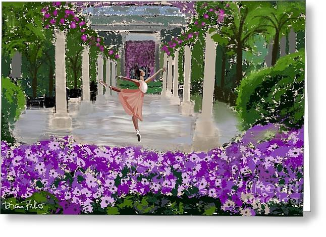 Ballet Dancers Greeting Cards - Water Dancer at Longwood  Gardens  Greeting Card by Diana Riukas