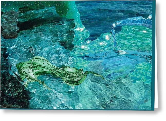 Bluish Green Greeting Cards - Water Greeting Card by Denise Mazzocco
