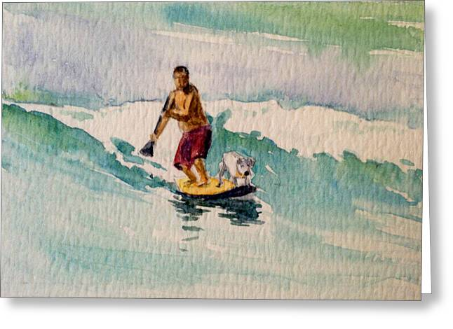 Water Dog Maui Greeting Card by Stacy Vosberg