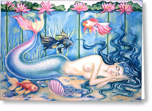 Sleeping Mermaid Greeting Cards - Water Dreams Greeting Card by Olga Shevchenko