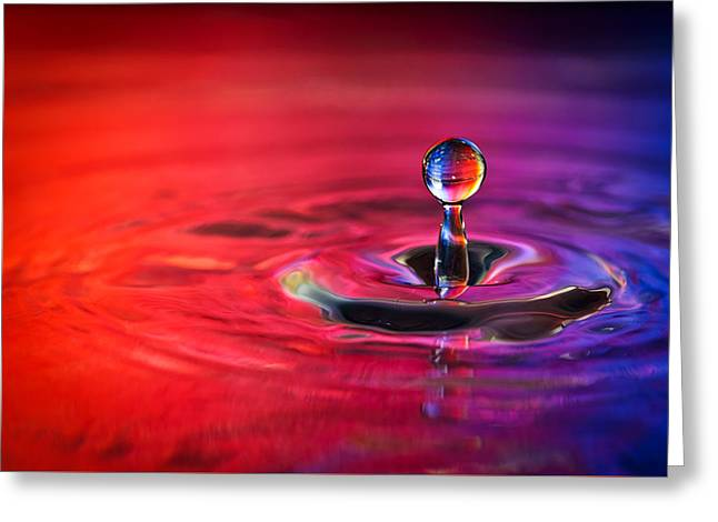 Water Drop In Red And Blue - Water Drop Photograph Greeting Card by Duane Miller