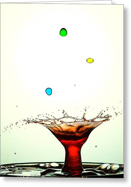 Blue Mushrooms Greeting Cards - Water Droplets Collision Liquid Art 12 Greeting Card by Paul Ge