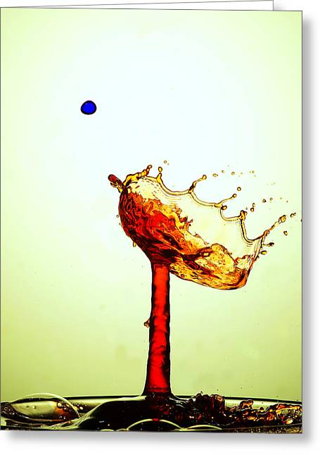 Blue Mushrooms Greeting Cards - Water Droplets Collision Liquid Art 14 Greeting Card by Paul Ge