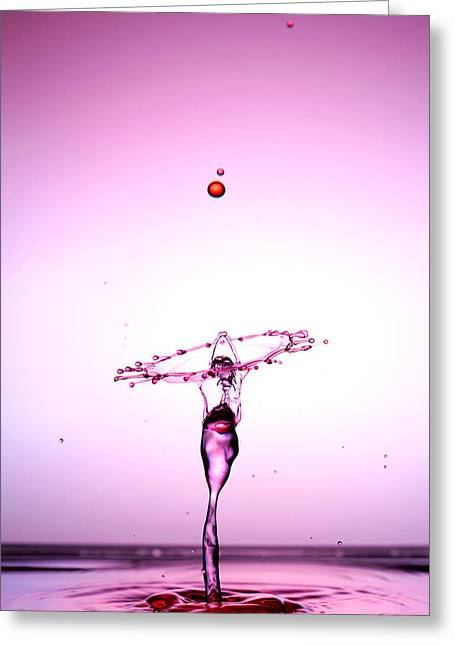 Blue Mushrooms Greeting Cards - Water Droplets Collision Liquid Art 5 Greeting Card by Paul Ge
