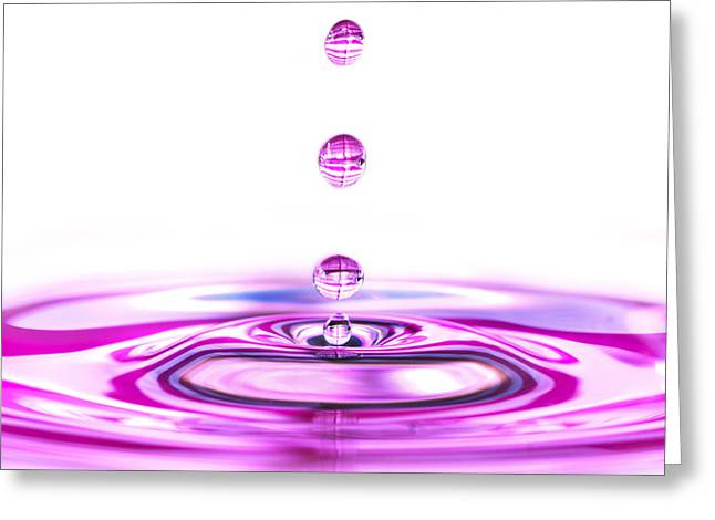 Busybee Greeting Cards - Water Droplets White and Purple Greeting Card by Sabine Jacobs