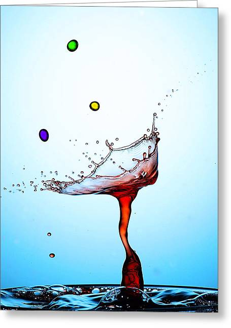 Blue Mushrooms Greeting Cards - Water Drops Collision Liquid Art 18 Greeting Card by Paul Ge