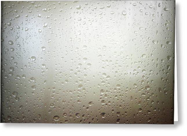 Abstract Rain Greeting Cards - Water drops Greeting Card by Les Cunliffe