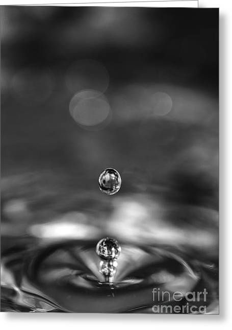 White Pearl Greeting Cards - Water drops rebound Greeting Card by Paul Cowan