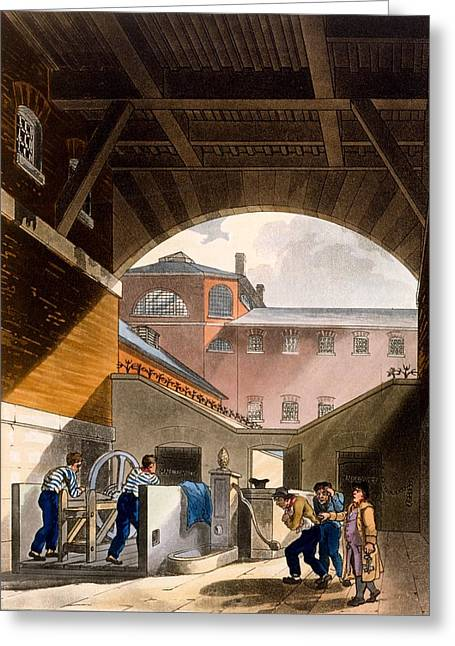 British Crime Greeting Cards - Water Engine, Coldbath Fields Prison Greeting Card by T. & Pugin, A.C. Rowlandson