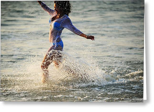 Woman With Black Hair Greeting Cards - Water Excitement Greeting Card by Jenny Rainbow