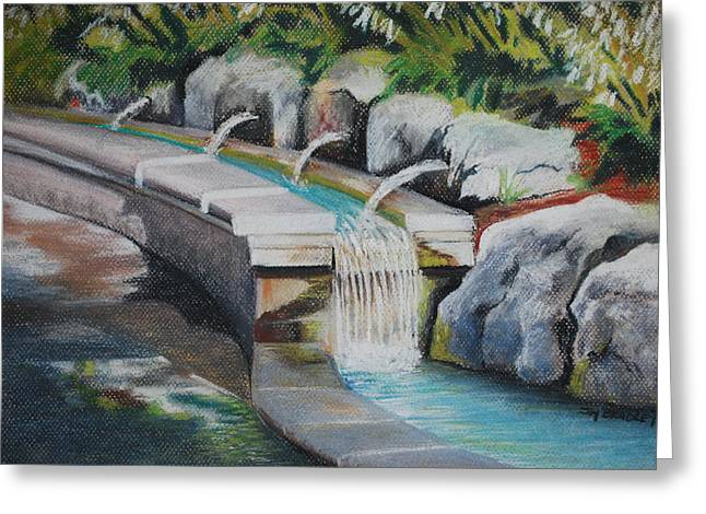 Waterfall Pastels Greeting Cards - Water Fall In The Gratto Greeting Card by Joy Bradley