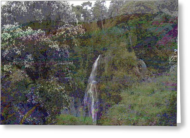 Civilization Greeting Cards - water fall wild jungles  rock climbing Costa Rica Vacations Waterfalls Rivers  Recreation challanges Greeting Card by Navin Joshi