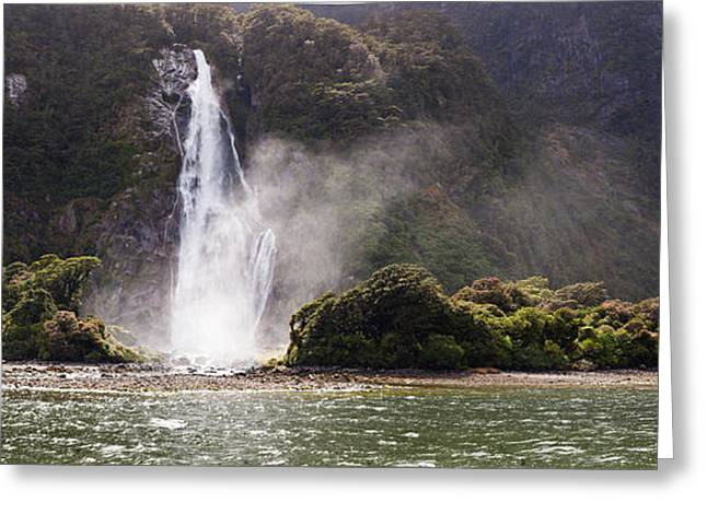 Tree In Rock Greeting Cards - Water Falling From Rocks, Milford Greeting Card by Panoramic Images