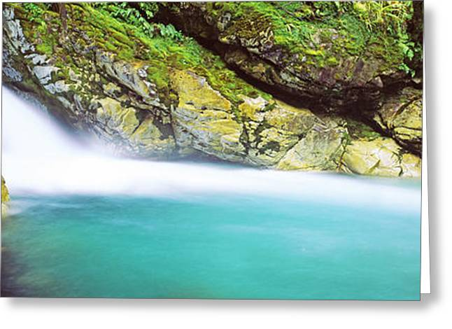 Fall Creek Greeting Cards - Water Falling Into A River, Falls Greeting Card by Panoramic Images