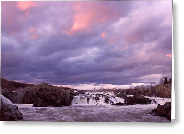 Great Falls Greeting Cards - Water Falling Into A River, Great Falls Greeting Card by Panoramic Images