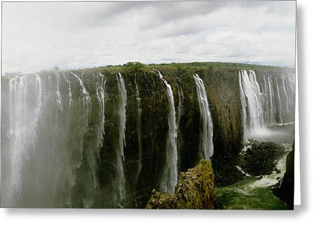 Zimbabwe Photographs Greeting Cards - Water Falling Into A River, Victoria Greeting Card by Panoramic Images