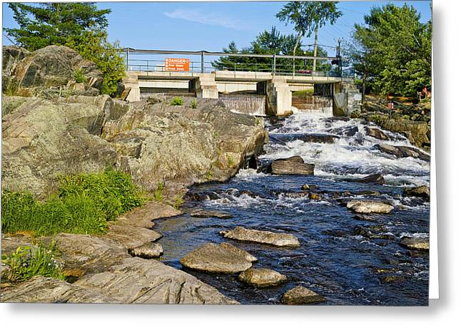 Moon River Greeting Cards - Water Falling Through Dam, Moon River Greeting Card by Panoramic Images