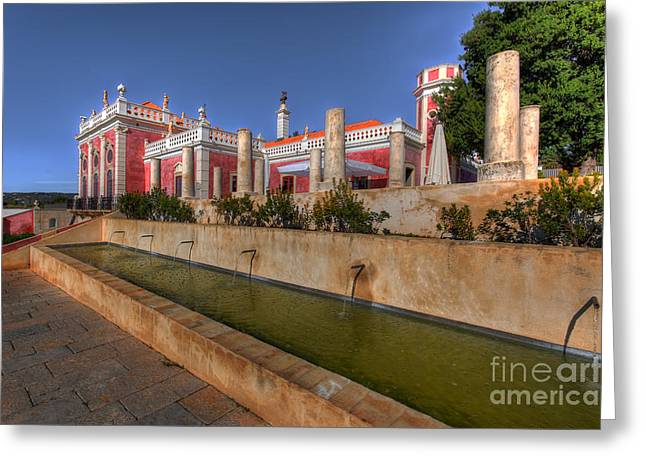 Water Feature Palacio De Estoi Greeting Card by English Landscapes