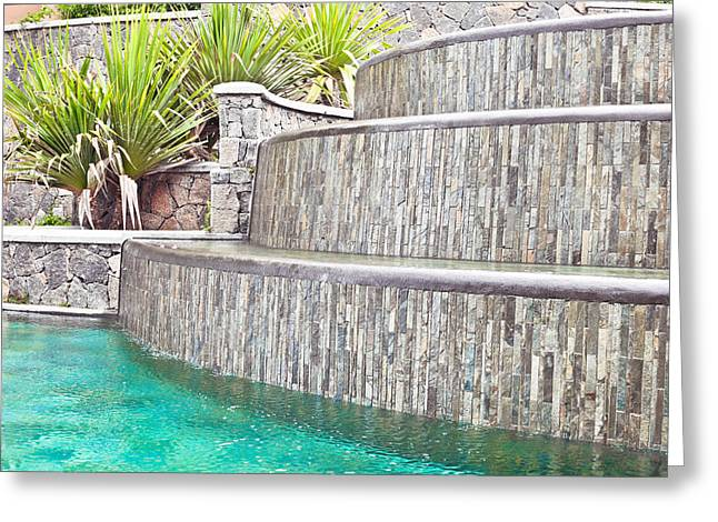 Gravity Greeting Cards - Water feature Greeting Card by Tom Gowanlock