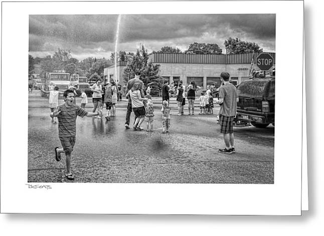 Water Fight Greeting Card by David Coats