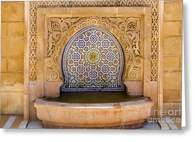 Rabat Photographs Greeting Cards - Water Fountain Mausoleum of Mohammed V opposite Hassan Tower Rabat Morocco  Greeting Card by Ralph A  Ledergerber-Photography