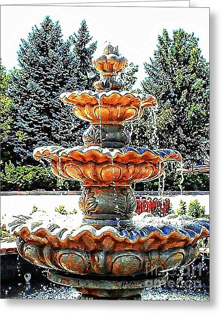 Michelle Greeting Cards - Water Fountain Greeting Card by Michelle Frizzell-Thompson