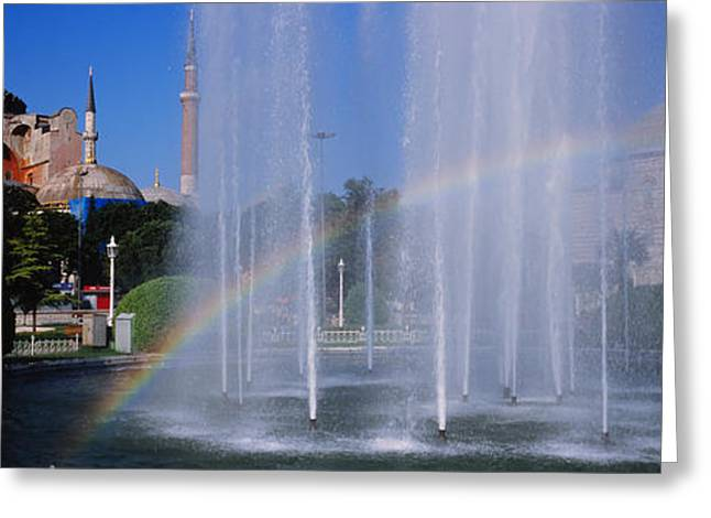 Hagia Sophia Greeting Cards - Water Fountain With A Rainbow In Front Greeting Card by Panoramic Images