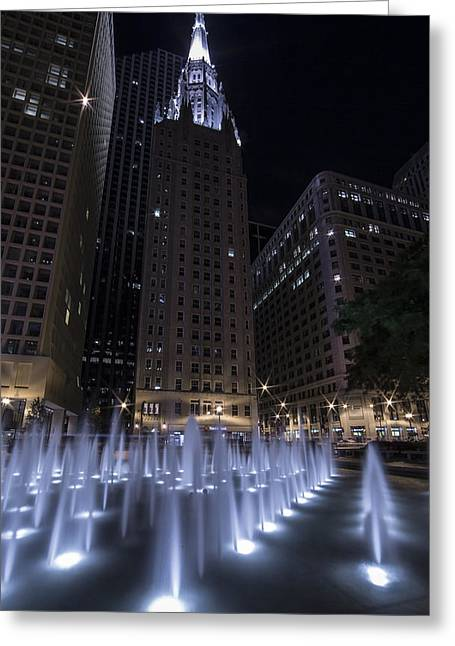 Daley Plaza Greeting Cards - Water Fountains At Daley Plaza In Front Of Chicago Temple Greeting Card by Krzysztof Hanusiak