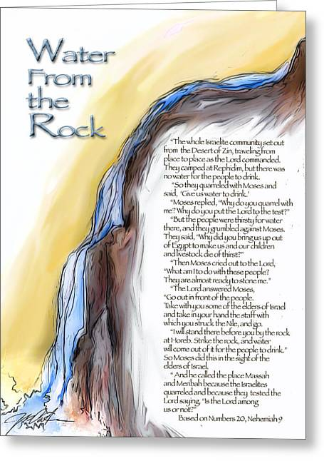 Bible Mixed Media Greeting Cards - Water from the Rock Greeting Card by Ron Cantrell