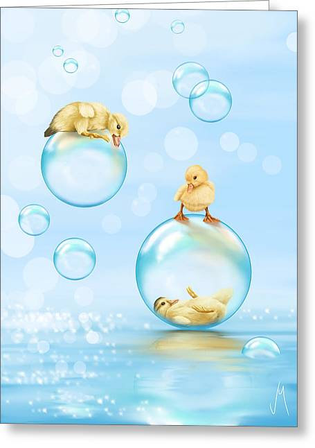 Ducklings Greeting Cards - Water games Greeting Card by Veronica Minozzi