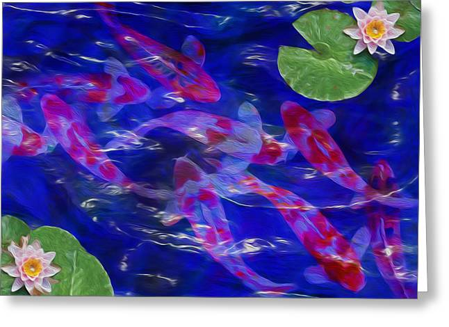 Decorative Fish Greeting Cards - Water Garden Greeting Card by Jack Zulli