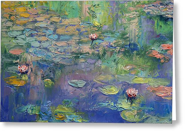 Lilly Pond Paintings Greeting Cards - Water Garden Greeting Card by Michael Creese