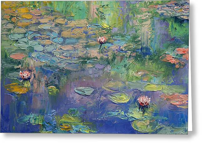 Water Lilly Greeting Cards - Water Garden Greeting Card by Michael Creese