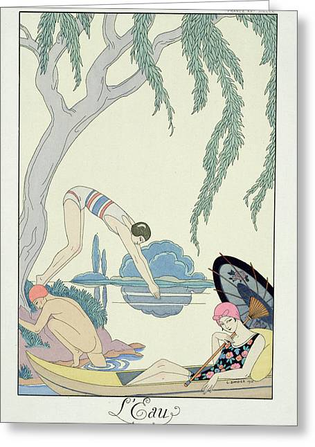 Bathing Greeting Cards - Water Greeting Card by Georges Barbier
