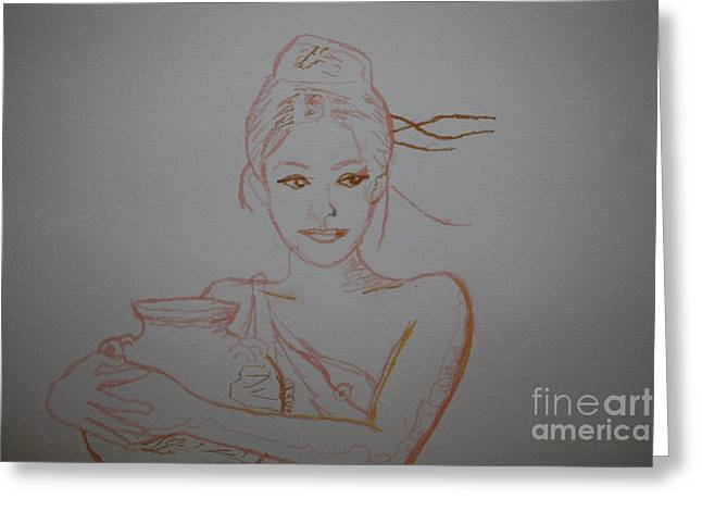 Water Jug Greeting Cards - Water Girl 2 Greeting Card by Leonard Lukomski