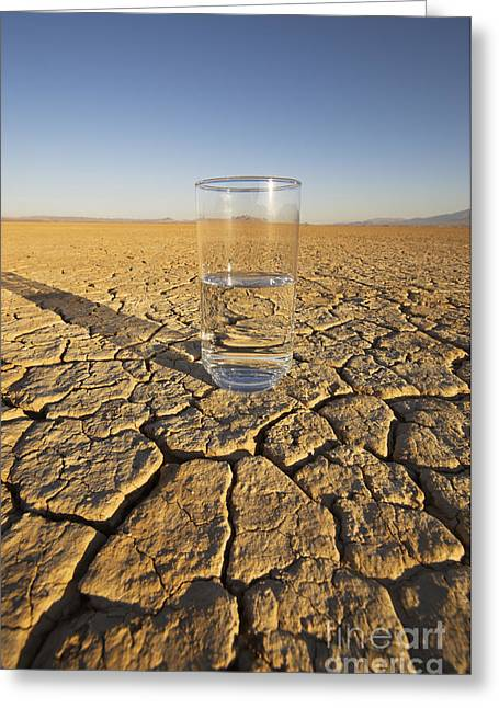 Dry Lake Greeting Cards - Water Glass & Dry Lake Greeting Card by GIPhotoStock