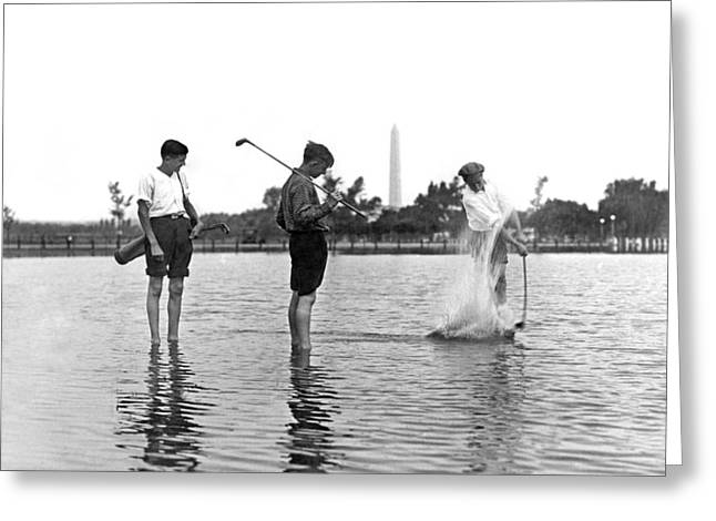 Flooding Greeting Cards - Water Hazard On Golf Course Greeting Card by Underwood Archives