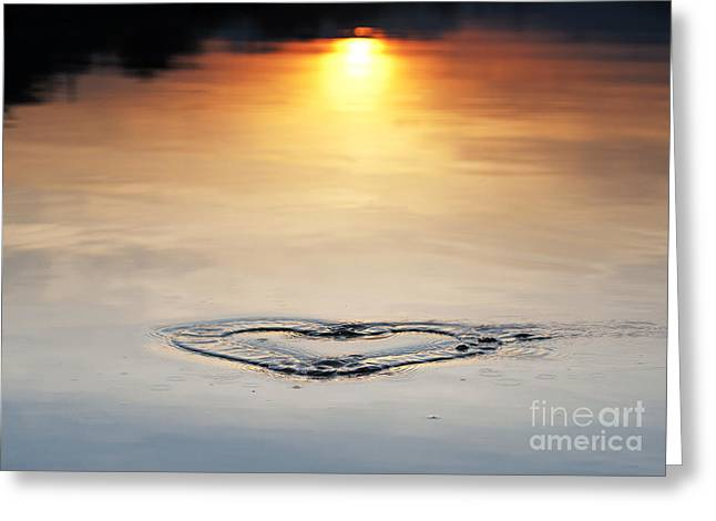 Water Patterns Greeting Cards - Water heart ripple Greeting Card by Tim Gainey