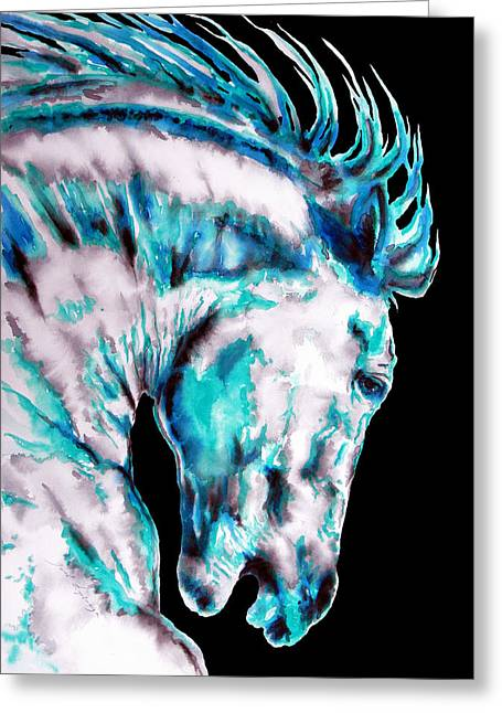 Horse Art Pastels Greeting Cards - ELEMENT WATER HORSE in black Greeting Card by Jose Espinoza