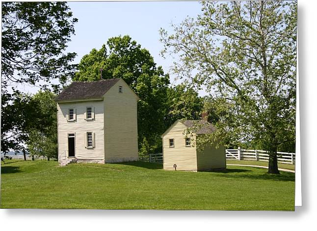 Hills Tapestries - Textiles Greeting Cards - Water House and Bath House-Shaker Village Greeting Card by Thia Stover