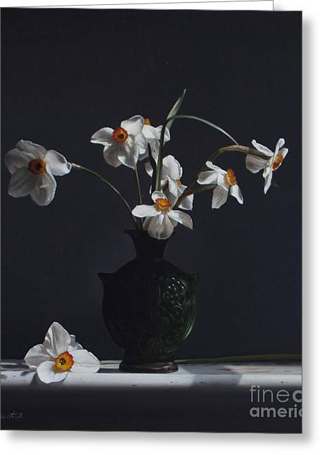 Jugs Greeting Cards - Water Jug With Narcissus   Greeting Card by Larry Preston