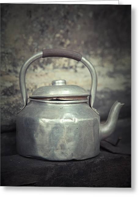 Teakettle Greeting Cards - Water kettle Greeting Card by Maria Heyens