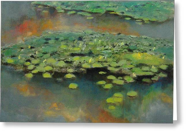 Pond Framed Prints Greeting Cards - Water Lilies 2 Greeting Card by Cap Pannell
