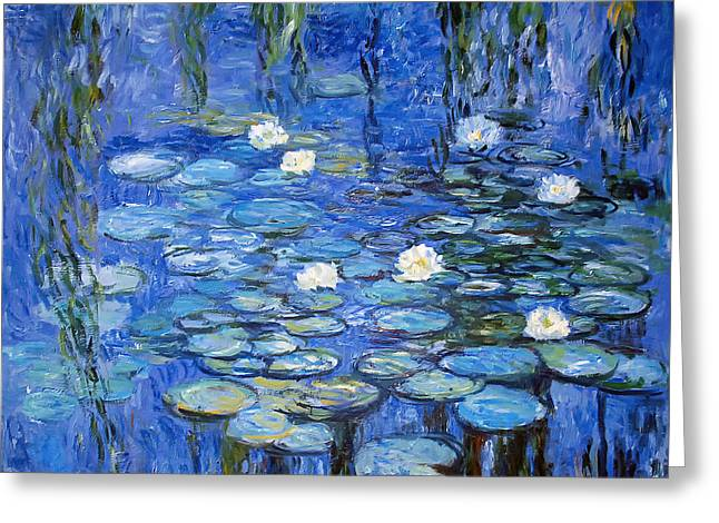 Willow Lake Greeting Cards - water lilies a la Monet Greeting Card by Joachim G Pinkawa